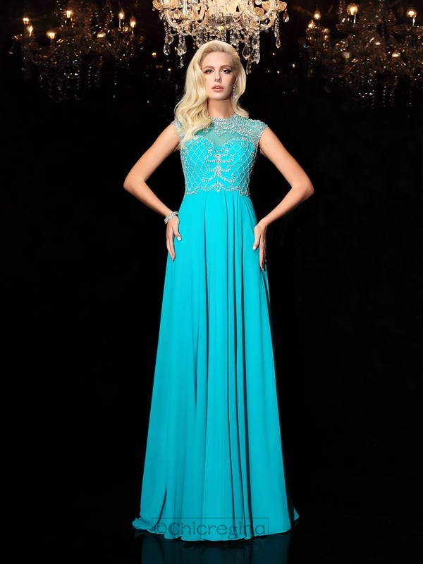 Chicregina A-Line/Princess Lace Jewel Short Sleeves Floor-Length Chiffon Dress with Beading