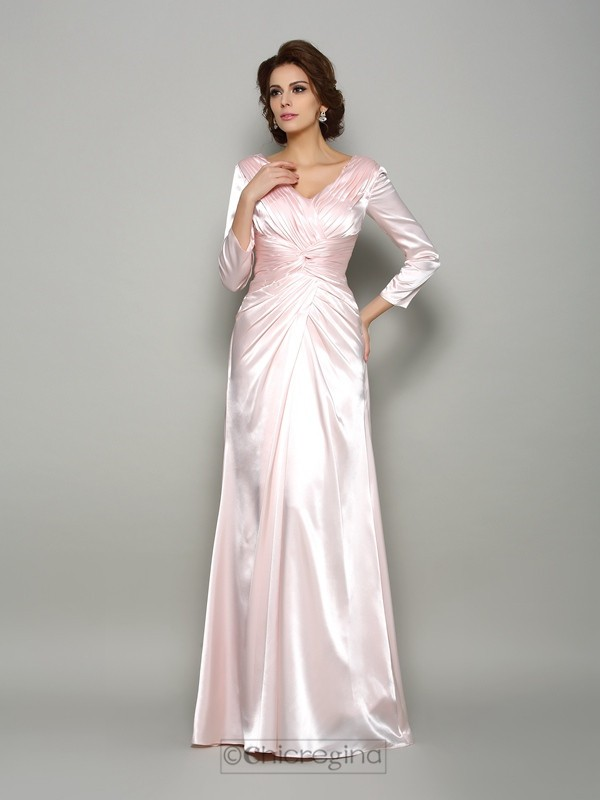 Chicregina A-Line/Princess Long Sleeves V-neck Silk like Satin Floor-Length Ruched Mother Of The Bride Dress with Applique