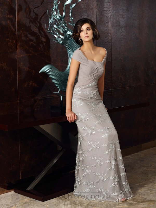 Chicregina A-Line/Princess Off-the-Shoulder Chiffon Floor-Length Dress with Beading Applique