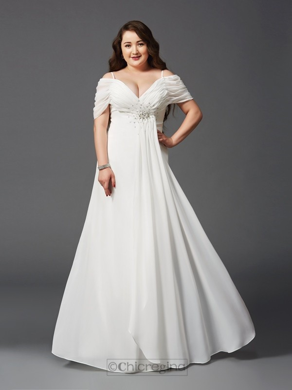 Chicregina A-Line/Princess Off-the-Shoulder Short Sleeves Floor-Length Chiffon Plus Size Dress with Applique Ruched