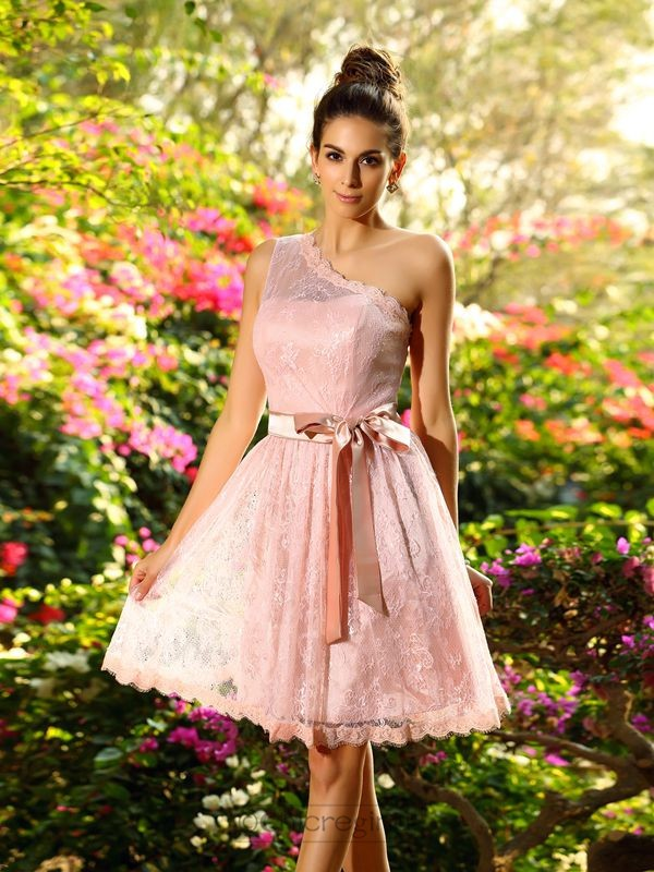 Chicregina A-Line/Princess One-Shoulder Elastic Woven Satin Knee-Length Dress with Lace