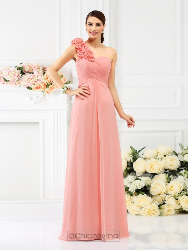 Chicregina A-Line/Princess One-Shoulder Floor-Length Chiffon Bridesmaid Dress with Applique