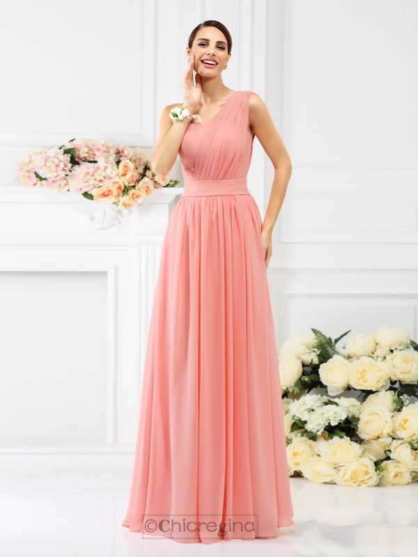 Chicregina A-Line/Princess One-Shoulder Floor-Length Chiffon Bridesmaid Dress with Ruched Pleats