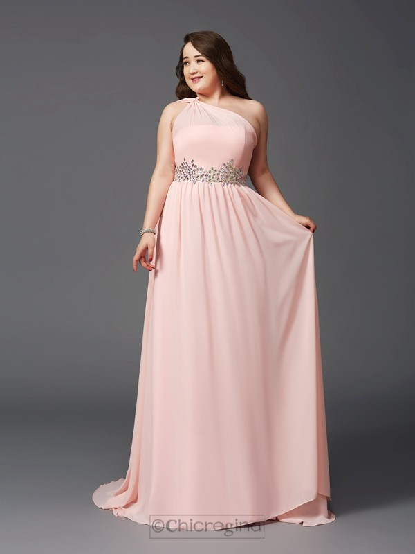 Chicregina A-Line/Princess One-Shoulder Sweep/Brush Train Chiffon Plus Size Dress with Rhinestone