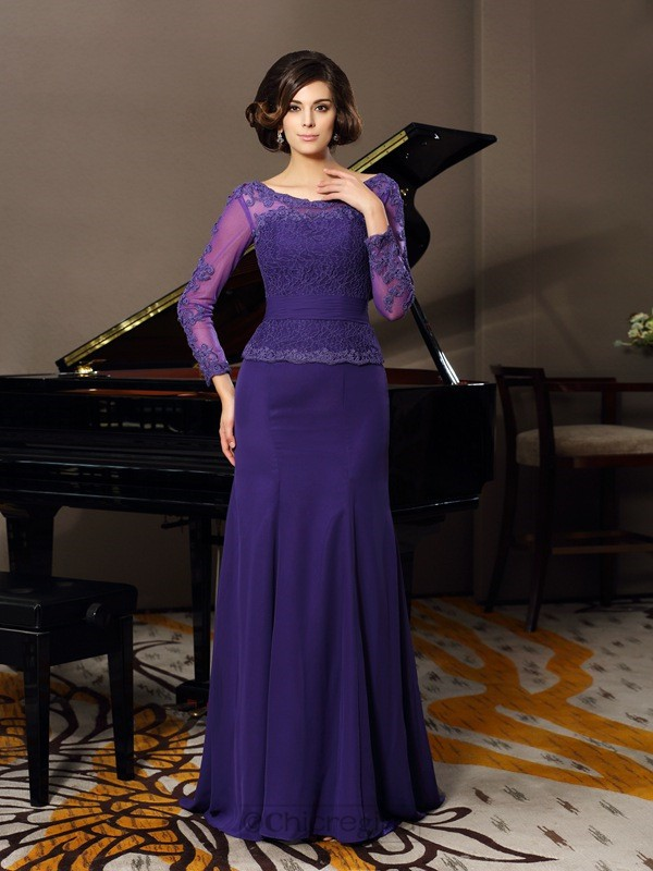 Chicregina A-Line/Princess Scoop 3/4 Sleeves Chiffon Floor-Length Applique Mother Of The Bride Dress with Applique