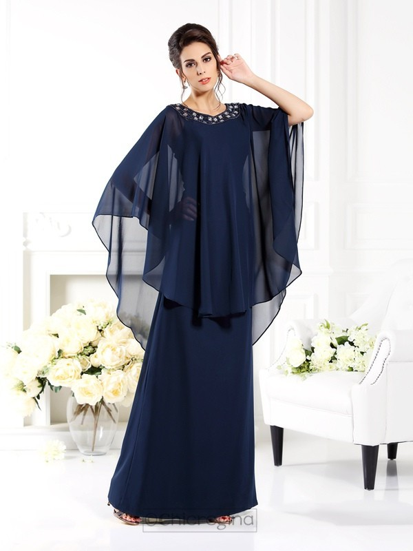 Chicregina A-Line/Princess Scoop 3/4 Sleeves Floor-Length Chiffon Mother Of The Bride Dress with Ruched