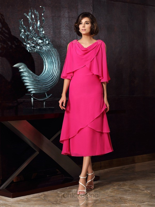 Chicregina A-Line/Princess Scoop Chiffon Tea-Length Mother Of The Bride Dress with Embroidery