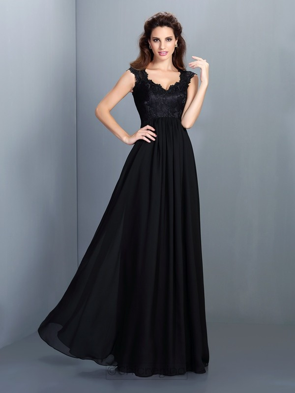 Chicregina Long A-Line/Princess Scoop Chiffon Lace Dress with Embroidery