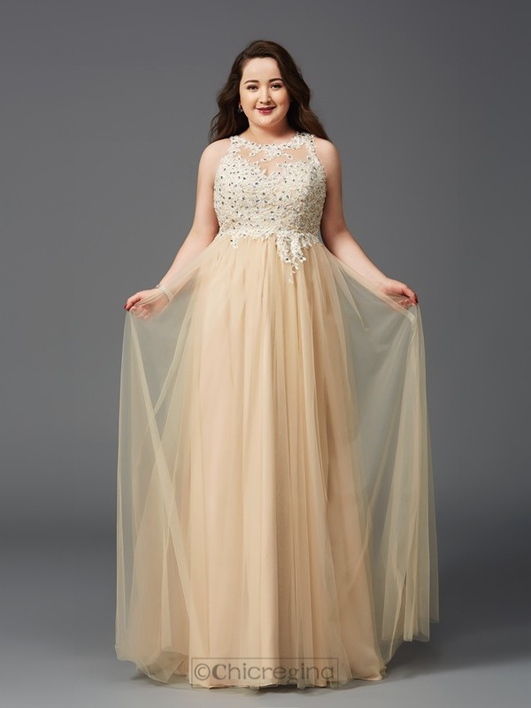 Chicregina A-Line/Princess Scoop Floor-Length Net Plus Size Dress with Embroidery Rhinestone