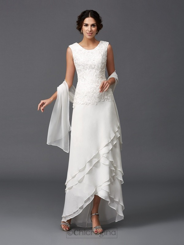 Chicregina A-Line/Princess Scoop Lace Asymmetrical Chiffon Mother of the Bride Dress with Beading