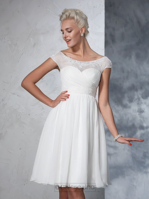 Chicregina A-Line/Princess Short Sleeves Sheer Neck Chiffon Knee-Length Wedding Dress with Applique