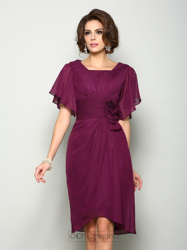 Chicregina A-Line/Princess Short Sleeves Square Chiffon Knee-Length Mother Of The Bride Dress with Ruched Hand-Made Flower