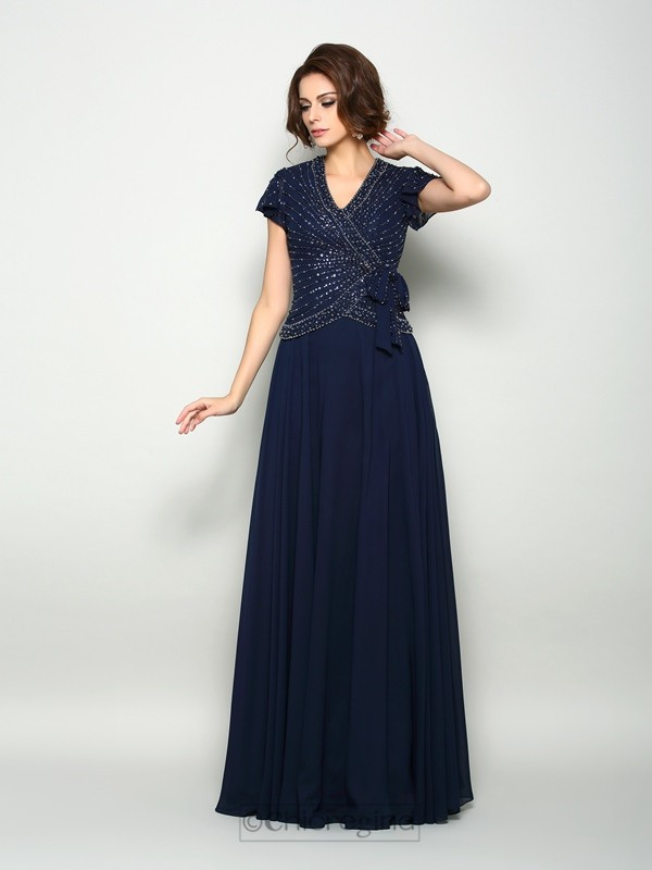 Chicregina A-Line/Princess Short Sleeves V-neck Chiffon Floor-Length Mother Of The Bride Dress with Sash Beading