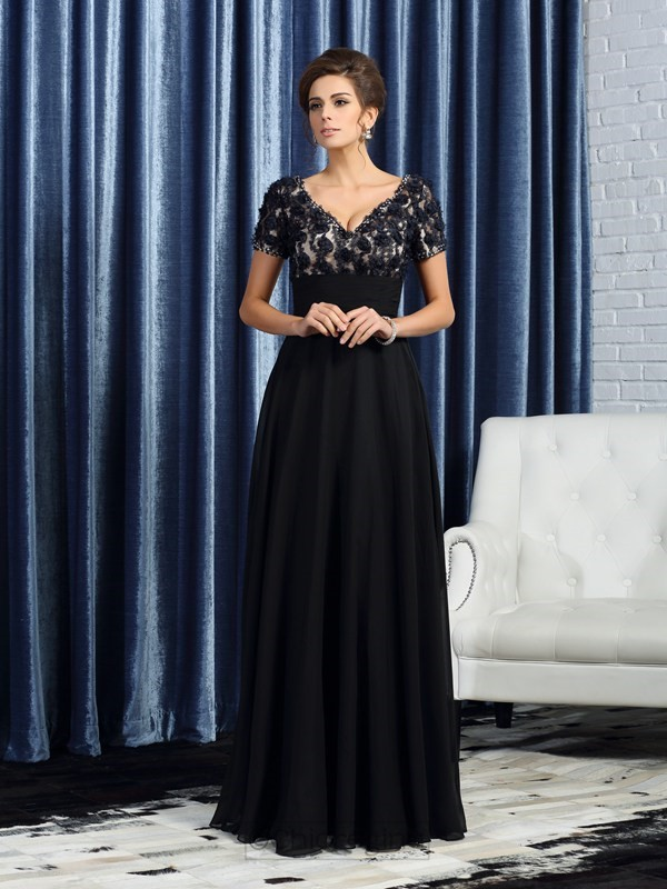 Chicregina A-Line/Princess Short Sleeves V-neck Floor-Length Chiffon Mother Of The Bride Dress with Ruffles