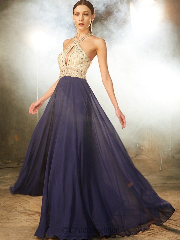 Chicregina A-Line/Princess Sleeveless Chiffon Long Dress With Beading
