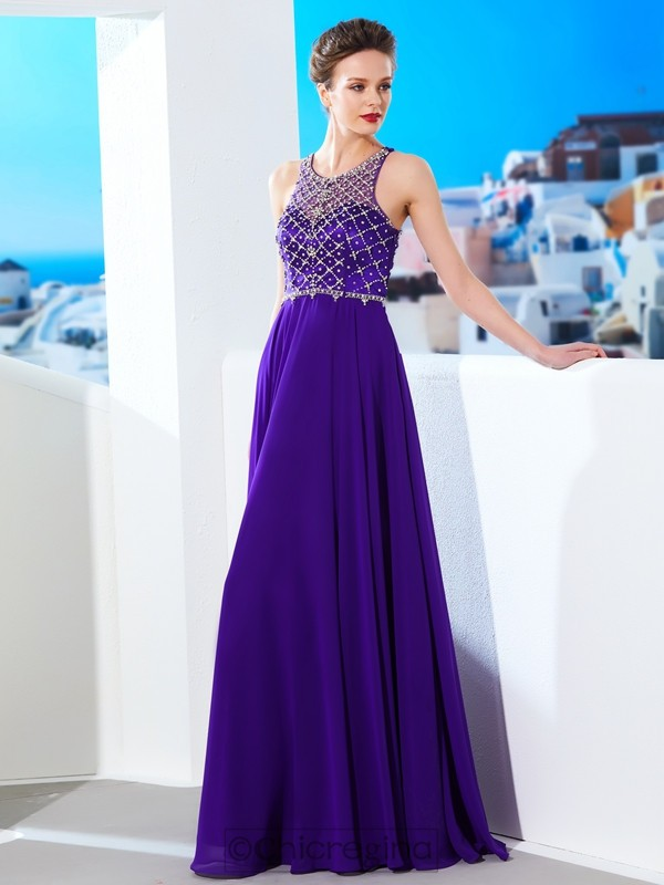 Chicregina A-Line/Princess Sleeveless Chiffon Scoop Long Dress With Crystal