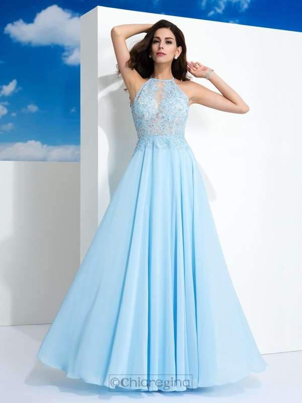 Chicregina A-Line/Princess Spaghetti Straps Applique Floor-Length Chiffon Dress with Lace