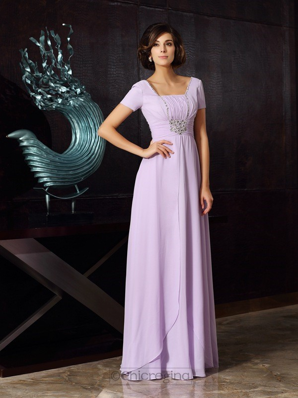 Chicregina A-Line/Princess Square Short Sleeves Chiffon Floor-Length Dress with Sash Beading