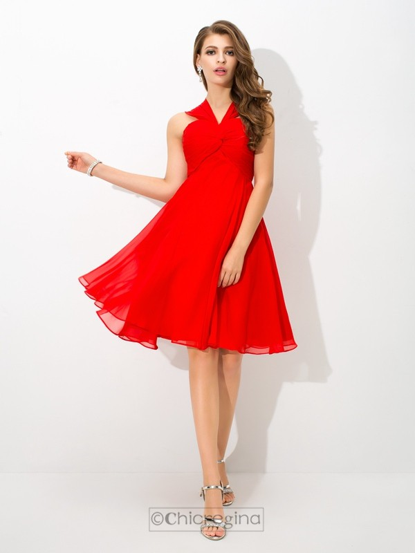 Chicregina A-Line/Princess Straps Knee-Length Chiffon Cocktail Dress with Beading Pleats