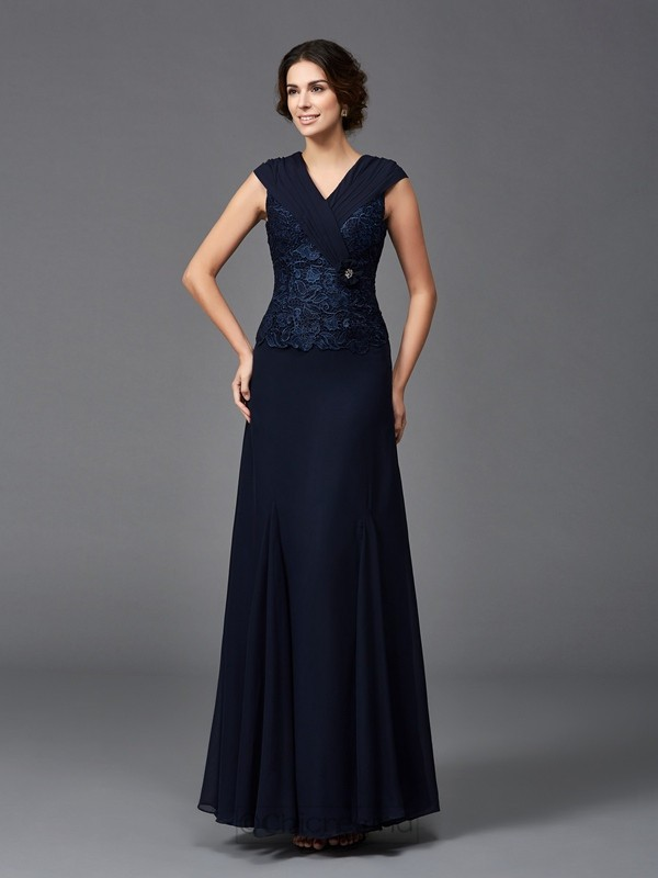 Chicregina A-Line/Princess Straps Lace Ankle-Length Chiffon Mother of the Bride Dress with Applique
