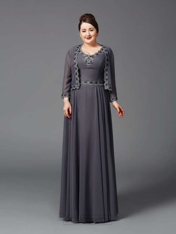 Chicregina A-Line/Princess Straps Lace Floor-Length Chiffon Plus Size Mother of the Bride Dress with Beading