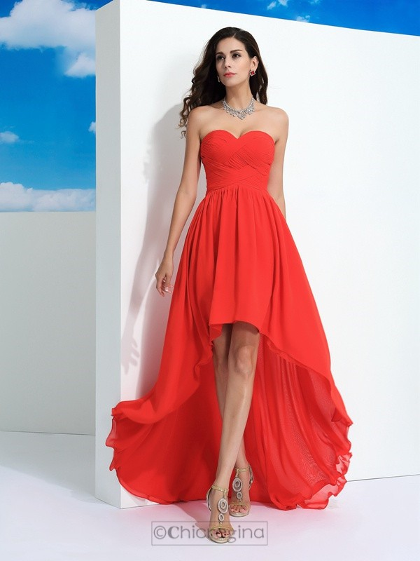 Chicregina A-Line/Princess Sweetheart  Asymmetrical Chiffon Dress with Beading Pleats