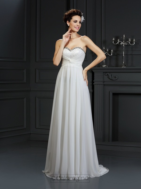 Chicregina A-Line/Princess Sweetheart Chapel Train Chiffon Wedding Dress with Rhinestone Ruffles