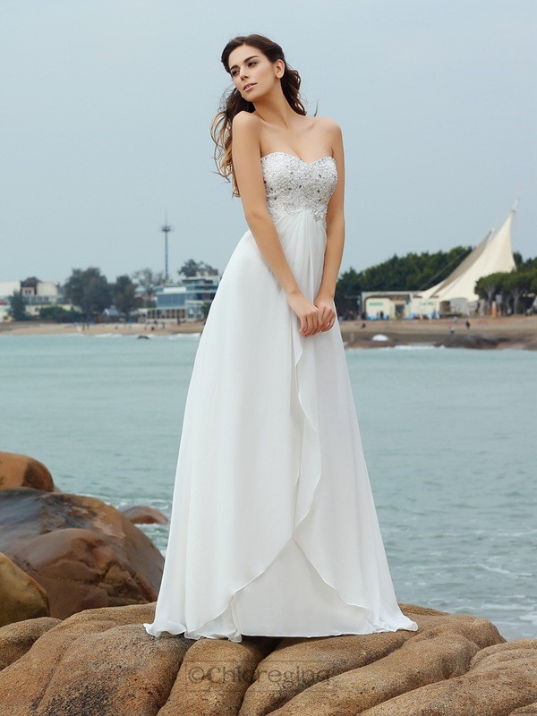 Chicregina A-Line/Princess Sweetheart Chiffon Floor-Length Wedding Dress with Pleats Beading