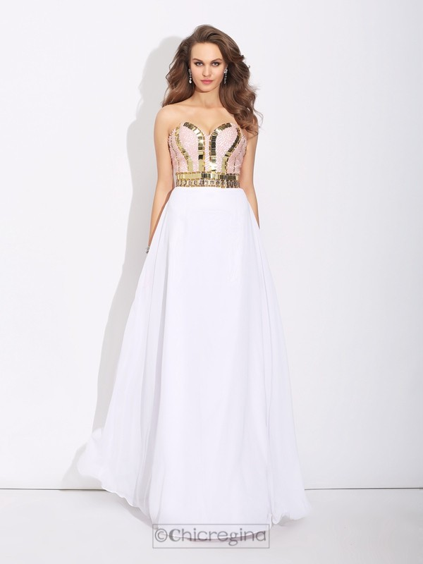 Chicregina A-Line/Princess Sweetheart Floor-Length Chiffon Dress with Applique Beading