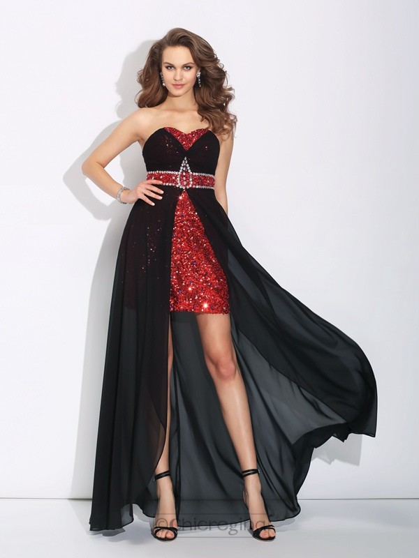 Chicregina A-Line/Princess Sweetheart Sequin Asymmetrical Chiffon Dress with Lace