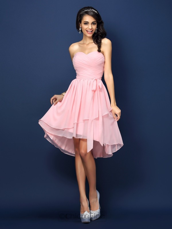 Chicregina A-Line/Princess Sweetheart Short/Mini Chiffon Bridesmaid Dress with Rhinestone Pleats