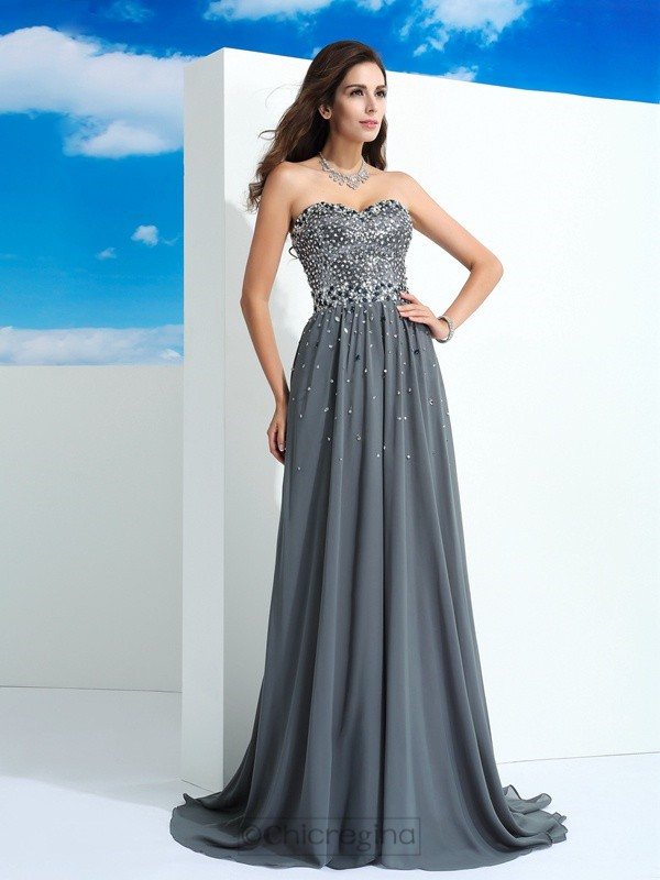 Chicregina A-Line/Princess Sweetheart Sweep/Brush Train Chiffon Dress with Embroidery