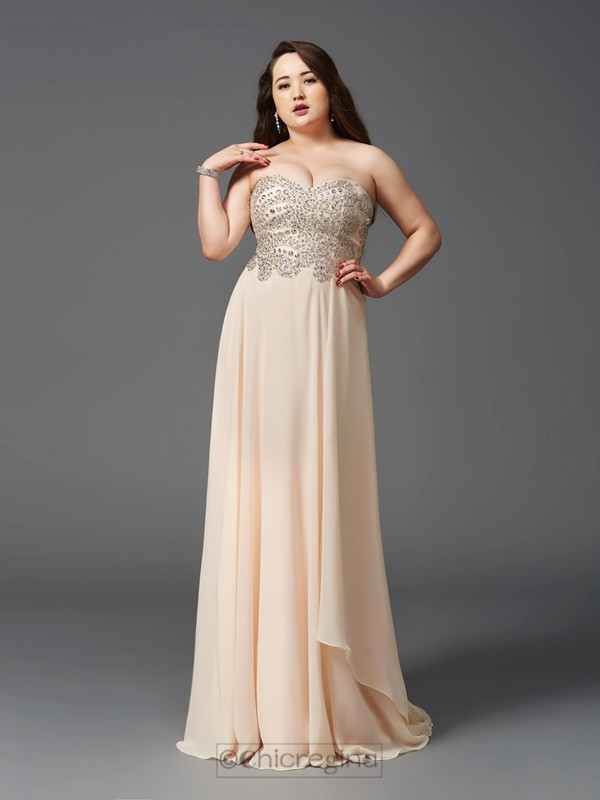 Chicregina A-Line/Princess Sweetheart Sweep/Brush Train Chiffon Plus Size Dress with Sequin Rhinestone
