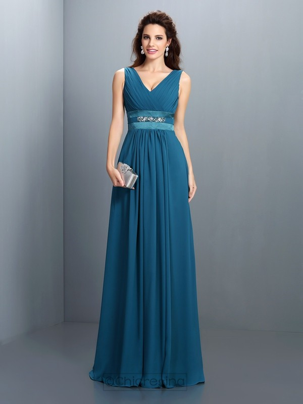 Chicregina A-Line/Princess V-neck Beading Floor-Length Chiffon Dress with Ruched