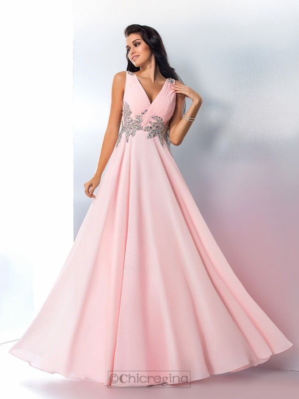 Chicregina A-Line/Princess V-neck Chiffon Floor-Length Dress with Beading