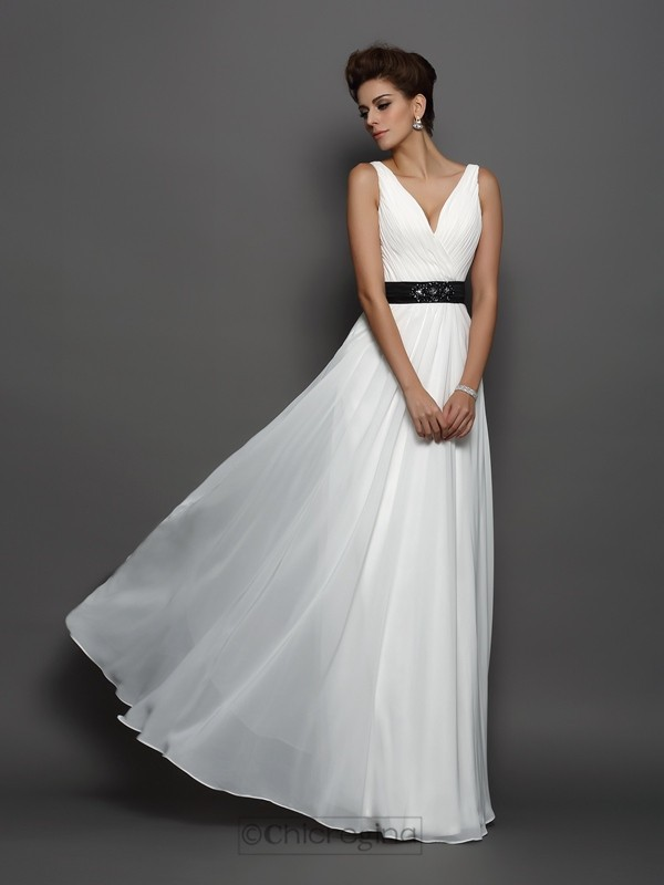 Chicregina A-Line/Princess V-neck Chiffon Floor-Length Wedding Dress with Beading