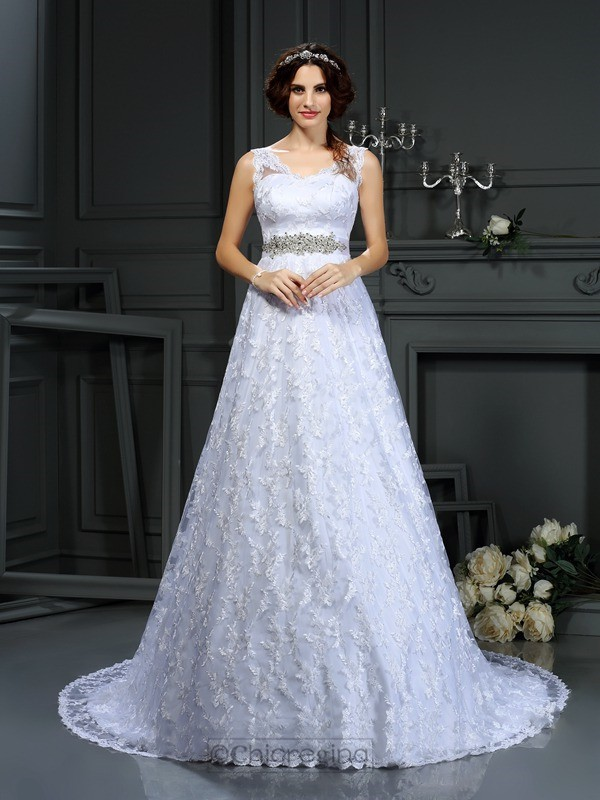 Chicregina A-Line/Princess V-neck Lace Satin Court Train Wedding Dress with Rhinestone