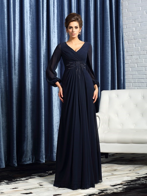 Chicregina A-Line/Princess V-neck Long Sleeves Chiffon Floor-Length Mother Of The Bride Dress with Sash Beading