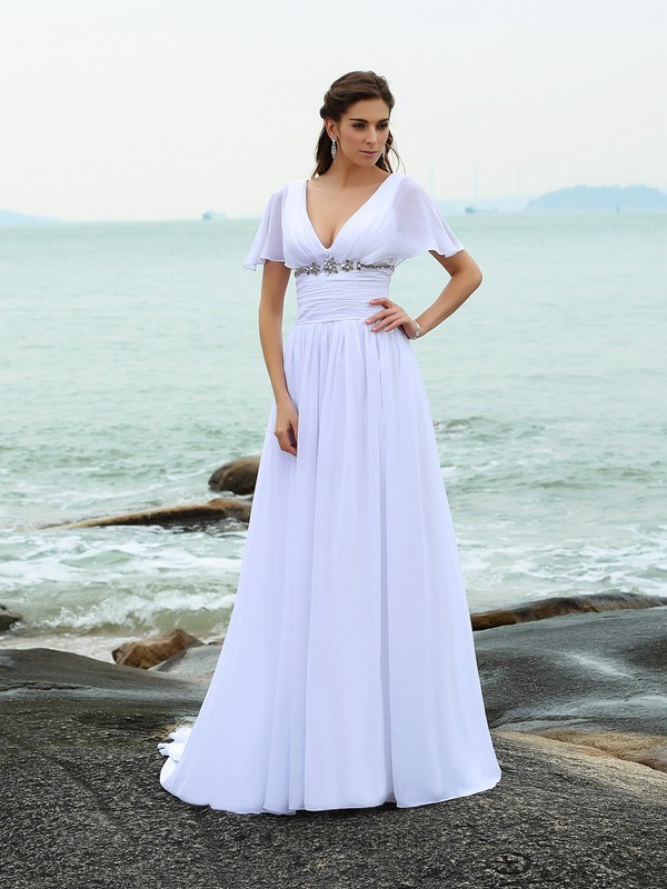 A-Line V-neck Short Sleeves Sweep/Brush Train Chiffon Wedding Dress with Lace Ruffles