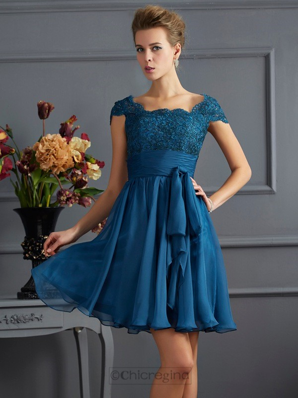 Chicregina A-Line Scoop Chiffon Short Sleeves Mini Dress With With Lace Beading