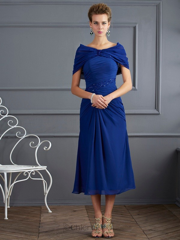Chicregina A-Line Short Sleeves Tea-Length Chiffon Mother Of The Bride Dress With Sequin