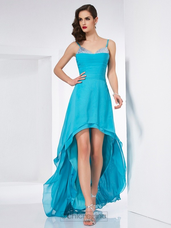 Chicregina A-Line Spaghetti Straps Chiffon Asymmetrical Dress With Beading