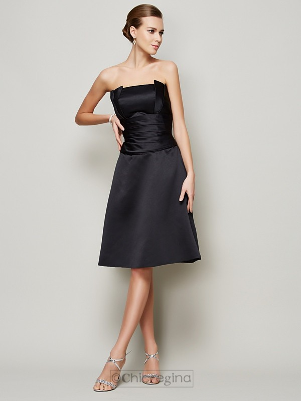 Chicregina A-Line Strapless Knee-Length Satin Dress With Sash Pleats