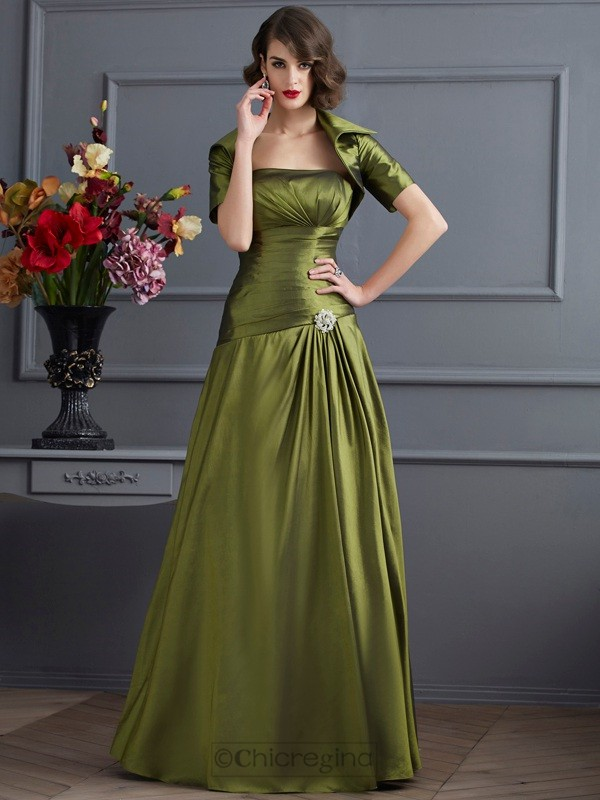 Chicregina A-Line Strapless Long Taffeta Dress With Beading Pleats