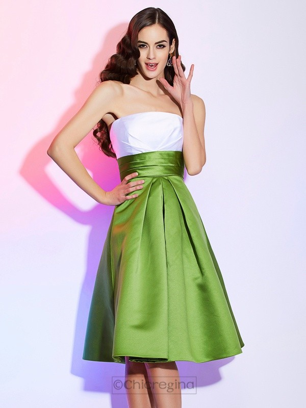 Chicregina A-Line Strapless Satin Knee-Length Dress With Beading