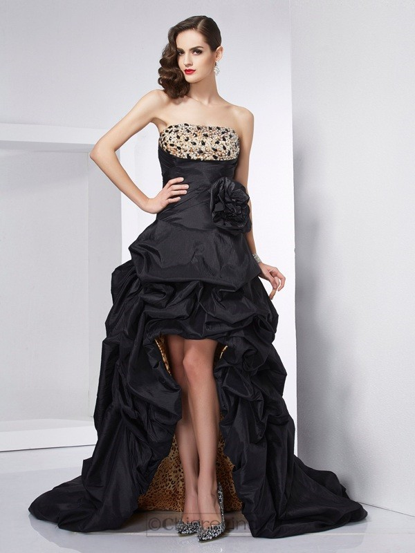 Chicregina A-Line Strapless Taffeta Asymmetrical Dress With Ruched