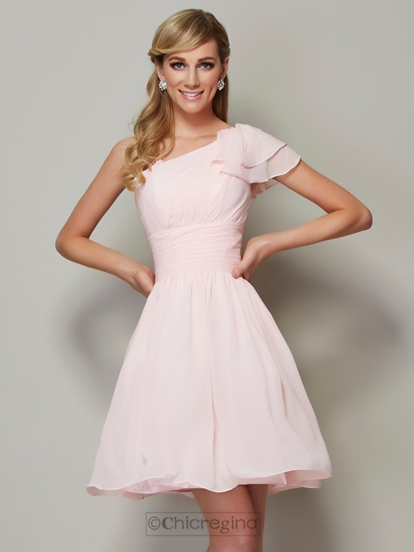 Chicregina A-Line Straps Chiffon Mini Bridesmaid Dress With Pleats
