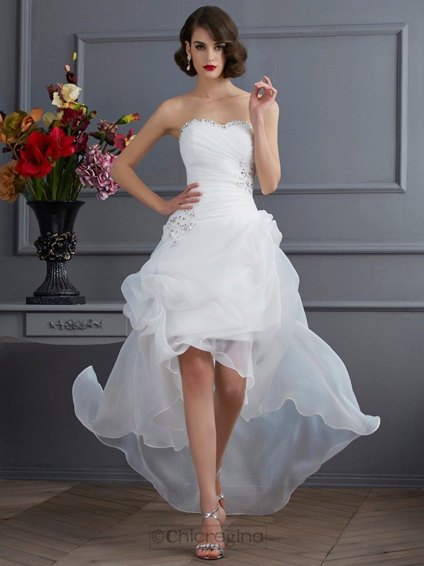 Chicregina A-Line Sweetheart Applique Organza Asymmetrical Wedding Dress With Beading