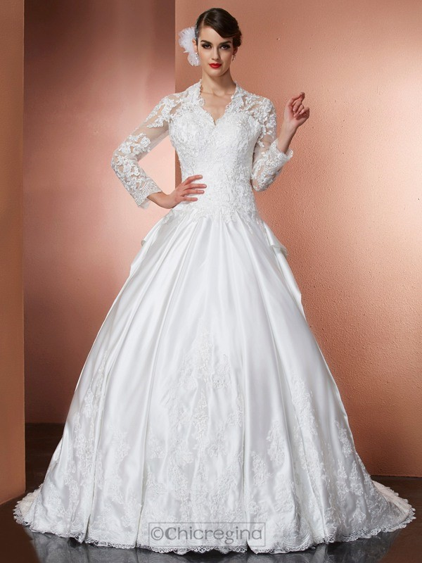 Chicregina A-Line V-Neck Long Sleeves Applique Cathedral Train Satin Wedding Dress With Sash