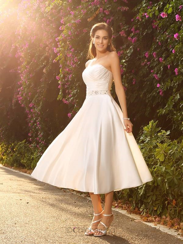 Chicregina A-Line/princess Sweetheart Satin Tea-Length Wedding Dress with Beading